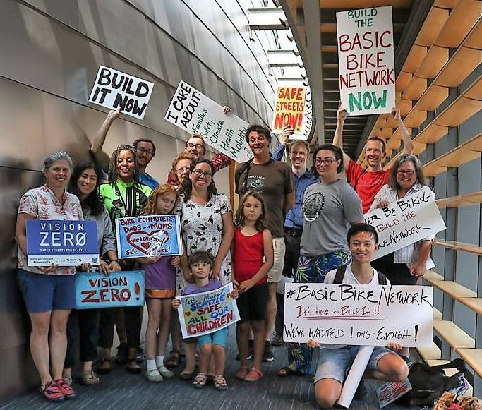 Some of the Basic Bike Network supporters at City Council on July 30