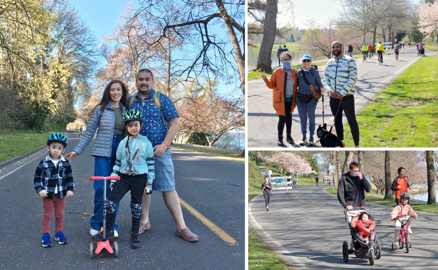 A collage of photos of families walking, biking, and riding scooters on Lake Washington Boulevard.