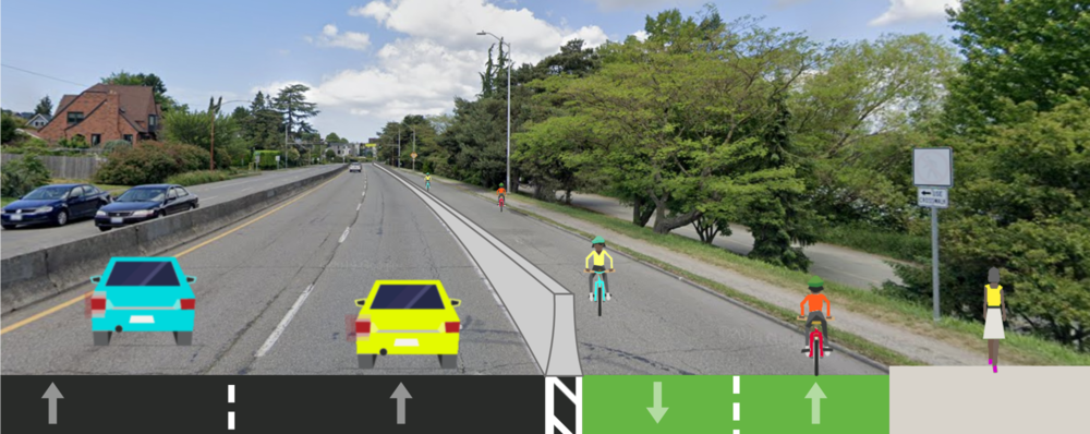 A rendering of Aurora Ave with one lane protected by concrete barriers for people walking and biking around Green Lake.