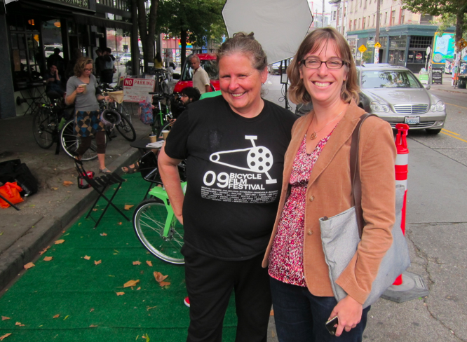 Cathy Tuttle, Seattle Neighborhood Greenways & Jennifer Wieland, SDOT Public Space Management program at Pronto Pop-up.