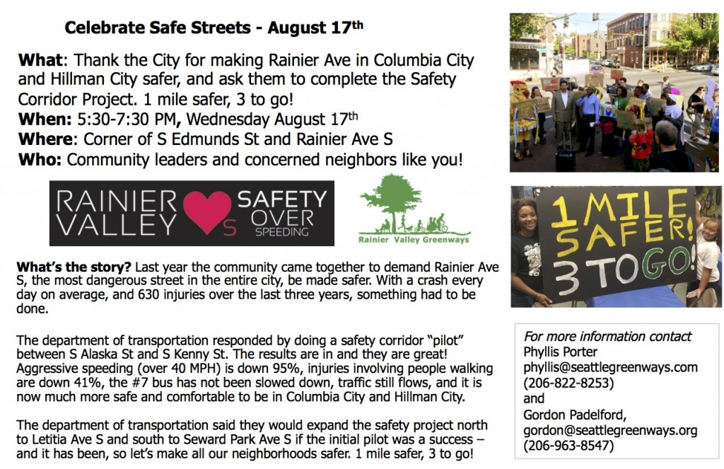 Celebrate Safe Streets August 17th flyer
