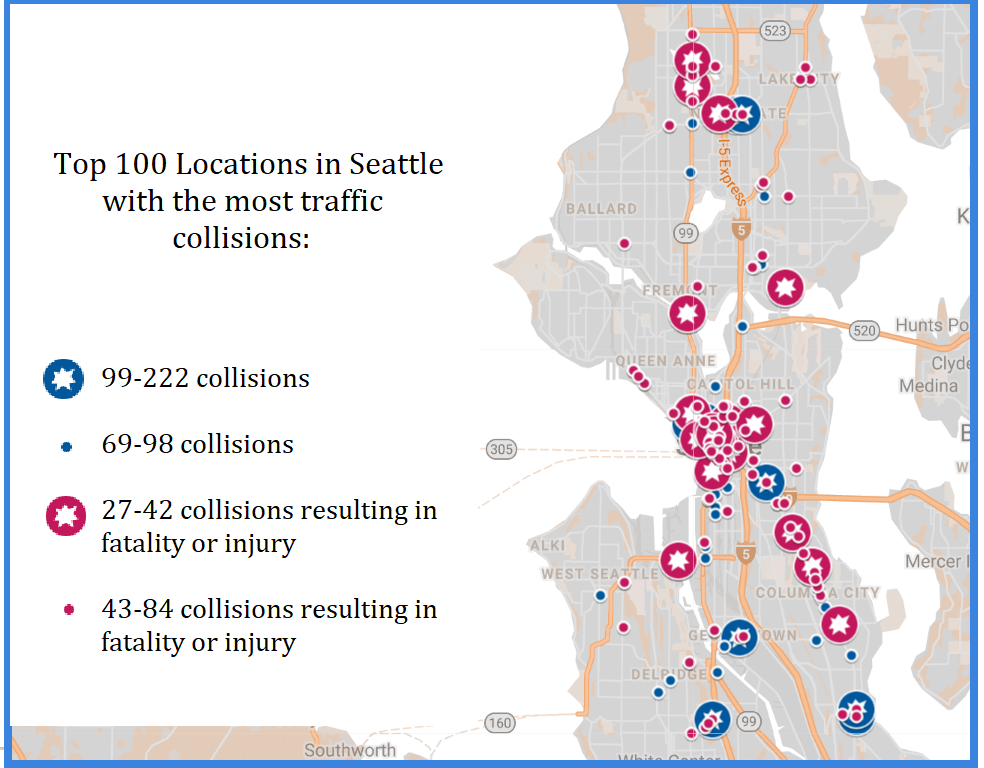 Map of the top 100 locations in Seattle with the most traffic collisions.
