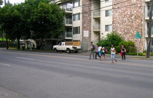Children hurry across Rainier at S Myrtle St where a safe crossing is our budget priority!