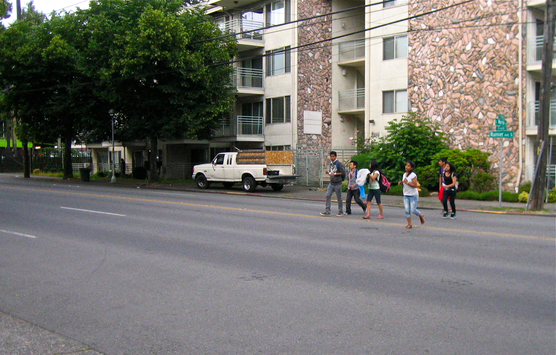 Children hurry across Rainier at S Myrtle St - a budget priority