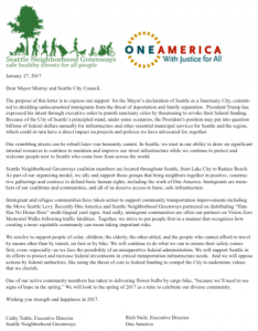 One America SNG letter 1.27.17