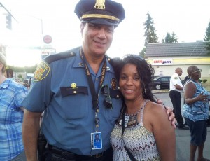 Seattle Police Captain John F. Hayes and Rainier Valley Greenways Outreach Advocate Phyllis Porter.