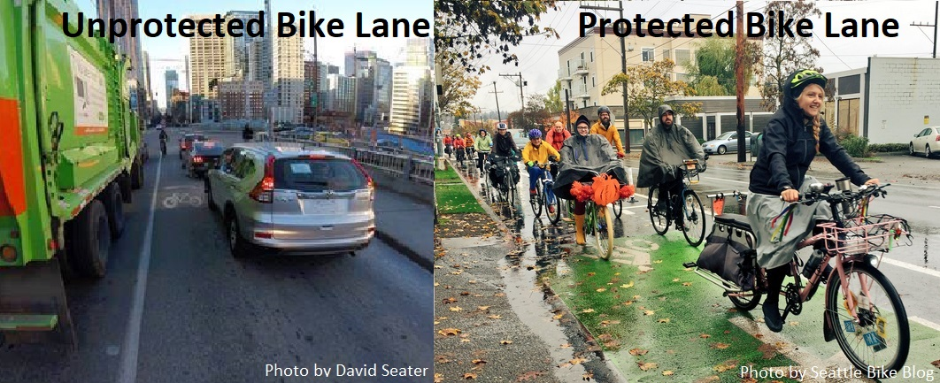 A comparison between current, unsafe conditions at the intersection of Pine and Boren and a happy image of a protected bike lane filled with happy bikers on a rainy day.