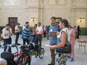 Rackathon participants evaluate a bike rack design.