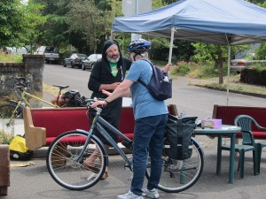 Councilmember Sally Bagshaw gets her bike blessed on the Sunday Parkways route.