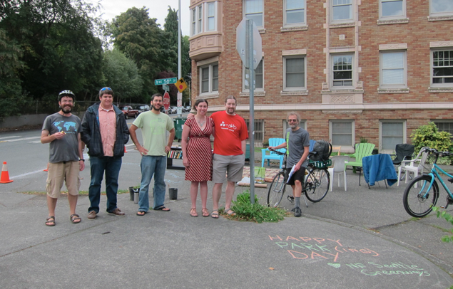 A few members of the hardworking PARK(ing) Day crew from University Greenways and NE Seattle Greenways