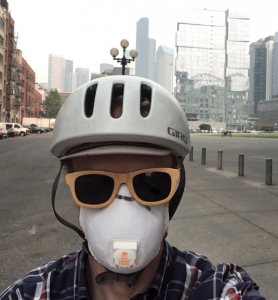 Gordon in pollution mask