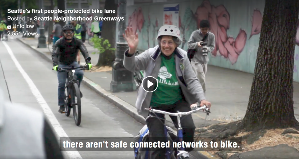 Still from a video about Seattle's first People Protected Bike Lane