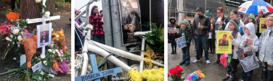 Three images showing memorials for people killed by being hit by cars on our streets. Images show a cross surrounded by photos and flowers, a white ghost bike, and a group of people holding signs and listening to a speaker.