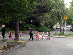 Preschoolers walking to school
