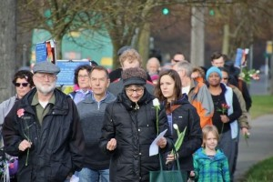 Councilmember Rasmussen at James St Clair Memorial Walk @WestSeattleBlog.com photo