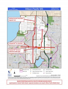 The Wilson Pacific walk zone covers much of north Seattle and crosses many busy roads.